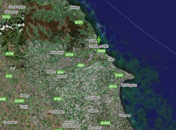 Google Hybrid Map showing the East Coast of England - Scarborough