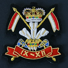 12th Royal Lancers Queens Crown Wire Blazer Badge