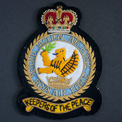 RAF 2nd Tactical Airforce Wire Blazer Badge