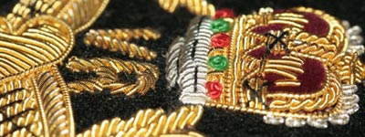 Close up detail of Wire Blazer Badge